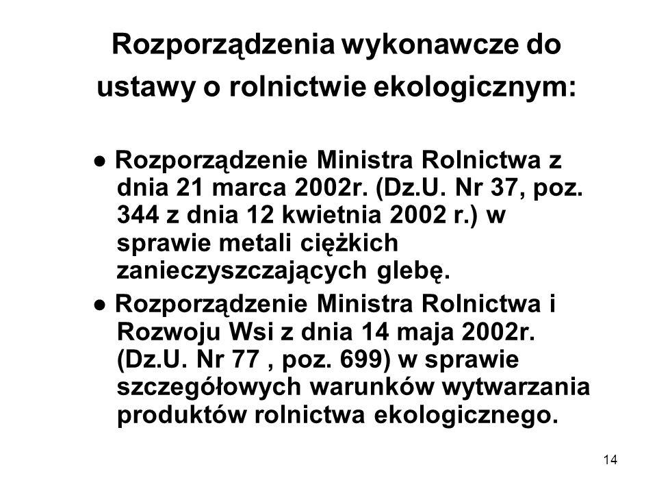 14 Rozporządzenia wykonawcze do ustawy o rolnictwie ekologicznym: Rozporządzenie Ministra Rolnictwa z dnia 21 marca 2002r. (Dz.U. Nr 37, poz. 344 z dn