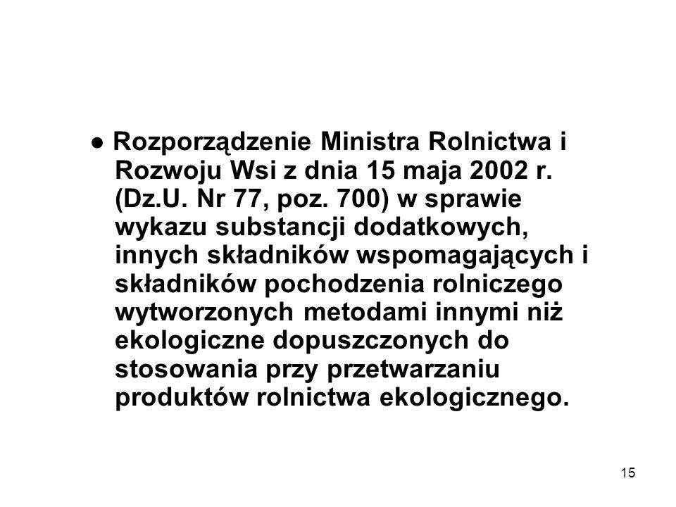 15 Rozporządzenie Ministra Rolnictwa i Rozwoju Wsi z dnia 15 maja 2002 r. (Dz.U. Nr 77, poz. 700) w sprawie wykazu substancji dodatkowych, innych skła