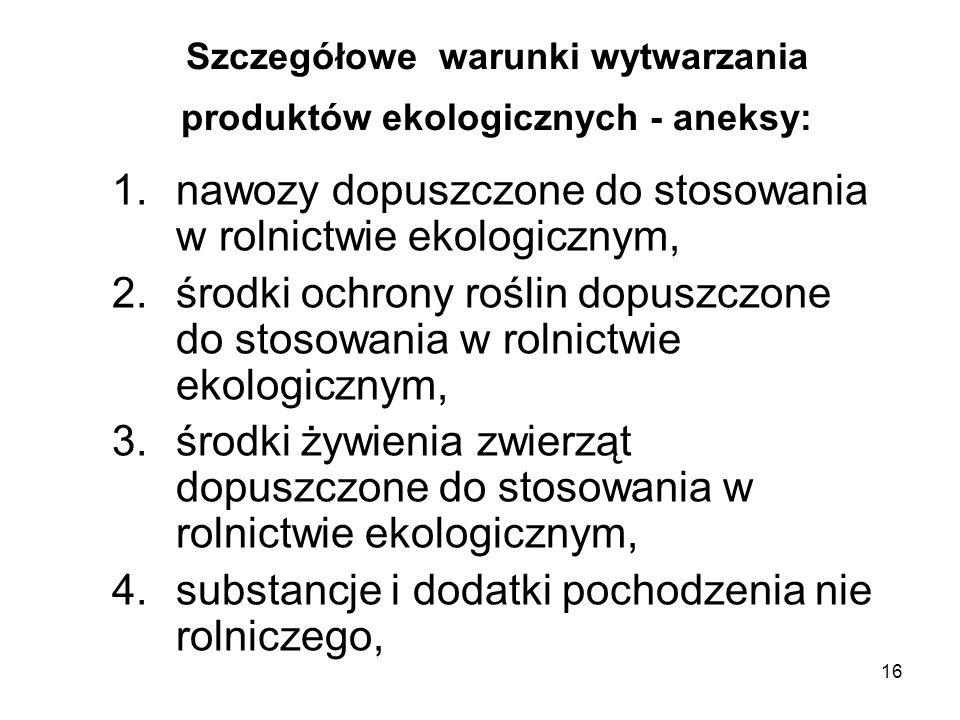16 Szczegółowe warunki wytwarzania produktów ekologicznych - aneksy: 1.nawozy dopuszczone do stosowania w rolnictwie ekologicznym, 2.środki ochrony ro
