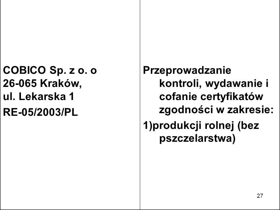 27 COBICO Sp. z o. o 26-065 Kraków, ul. Lekarska 1 RE-05/2003/PL Przeprowadzanie kontroli, wydawanie i cofanie certyfikatów zgodności w zakresie: 1)pr