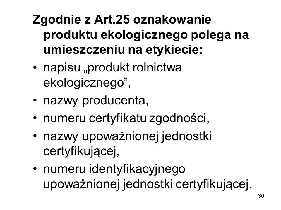 30 Zgodnie z Art.25 oznakowanie produktu ekologicznego polega na umieszczeniu na etykiecie: napisu produkt rolnictwa ekologicznego, nazwy producenta,