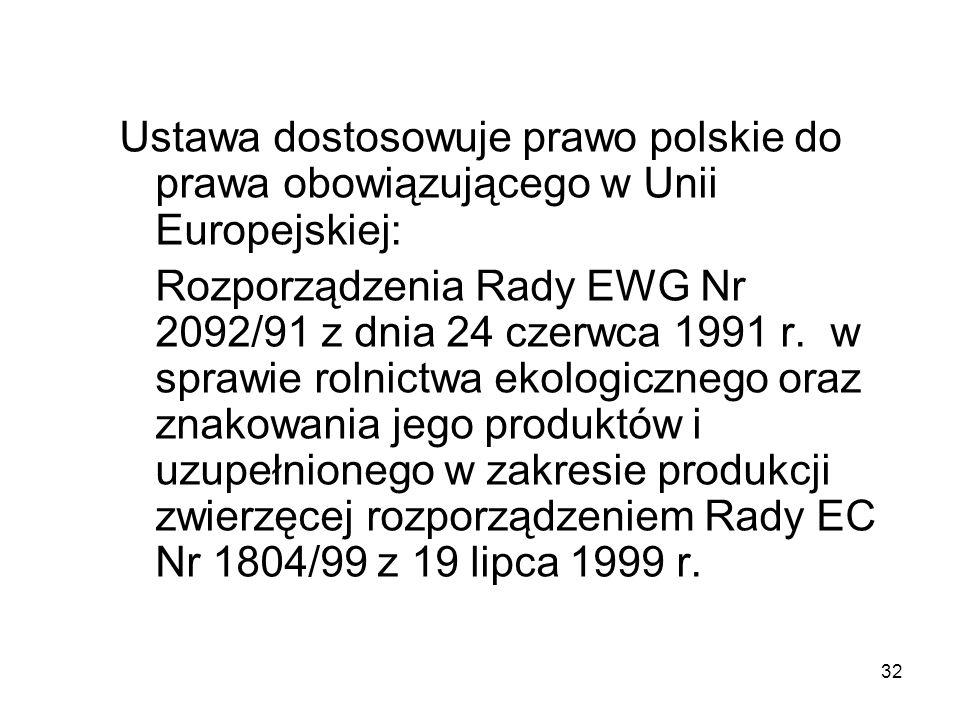 32 Ustawa dostosowuje prawo polskie do prawa obowiązującego w Unii Europejskiej: Rozporządzenia Rady EWG Nr 2092/91 z dnia 24 czerwca 1991 r. w sprawi