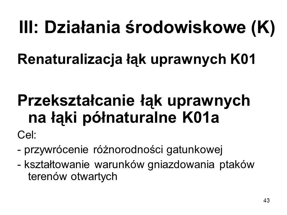 43 III: Działania środowiskowe (K) Renaturalizacja łąk uprawnych K01 Przekształcanie łąk uprawnych na łąki półnaturalne K01a Cel: - przywrócenie różno