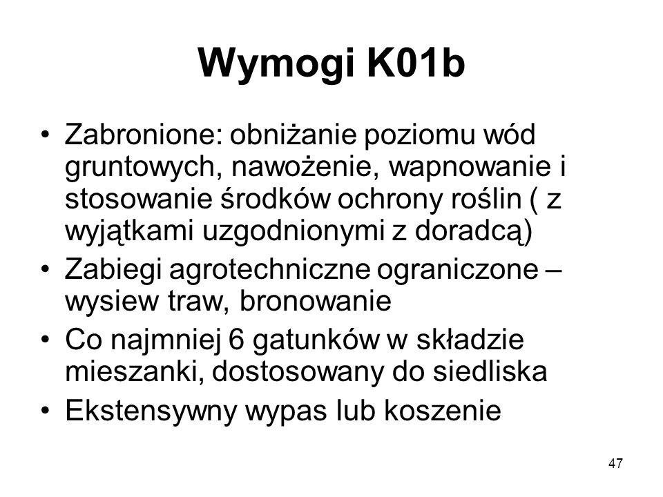 47 Wymogi K01b Zabronione: obniżanie poziomu wód gruntowych, nawożenie, wapnowanie i stosowanie środków ochrony roślin ( z wyjątkami uzgodnionymi z do