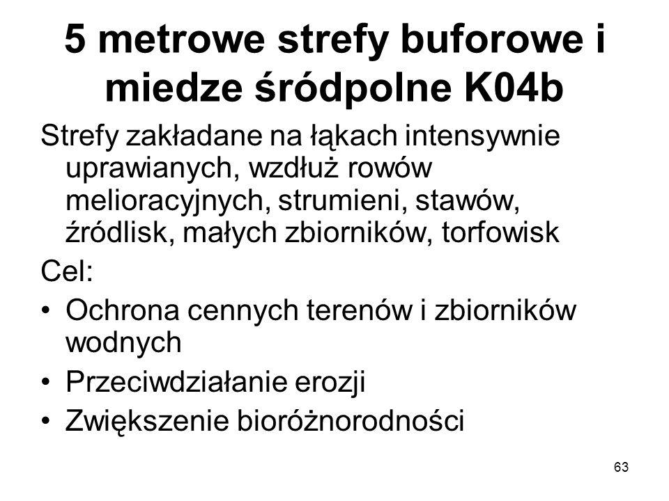 63 5 metrowe strefy buforowe i miedze śródpolne K04b Strefy zakładane na łąkach intensywnie uprawianych, wzdłuż rowów melioracyjnych, strumieni, stawó