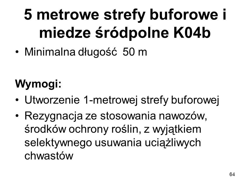 64 5 metrowe strefy buforowe i miedze śródpolne K04b Minimalna długość 50 m Wymogi: Utworzenie 1-metrowej strefy buforowej Rezygnacja ze stosowania na