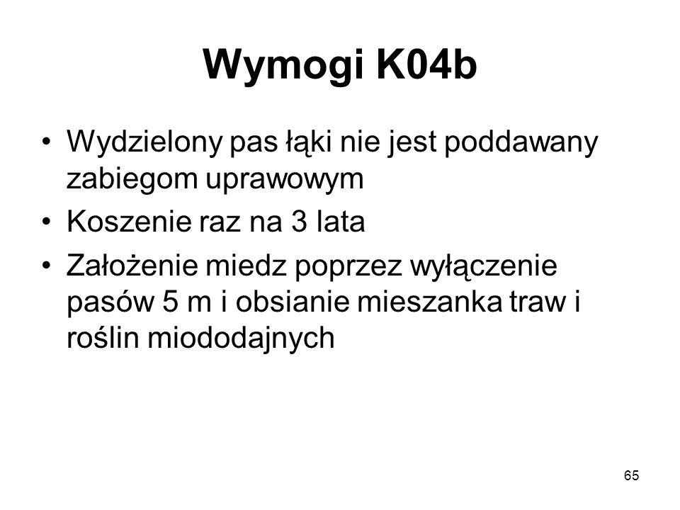 65 Wymogi K04b Wydzielony pas łąki nie jest poddawany zabiegom uprawowym Koszenie raz na 3 lata Założenie miedz poprzez wyłączenie pasów 5 m i obsiani