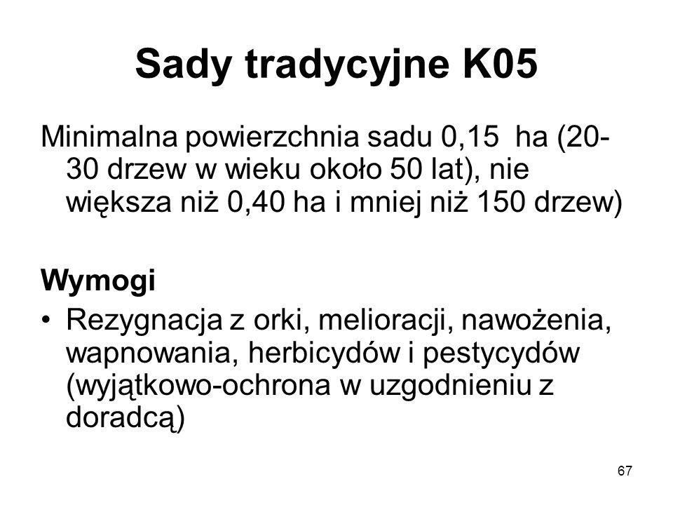 67 Sady tradycyjne K05 Minimalna powierzchnia sadu 0,15 ha (20- 30 drzew w wieku około 50 lat), nie większa niż 0,40 ha i mniej niż 150 drzew) Wymogi