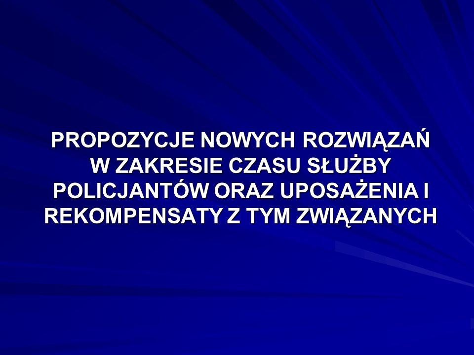PROPOZYCJE NOWYCH ROZWIĄZAŃ W ZAKRESIE CZASU SŁUŻBY POLICJANTÓW ORAZ UPOSAŻENIA I REKOMPENSATY Z TYM ZWIĄZANYCH