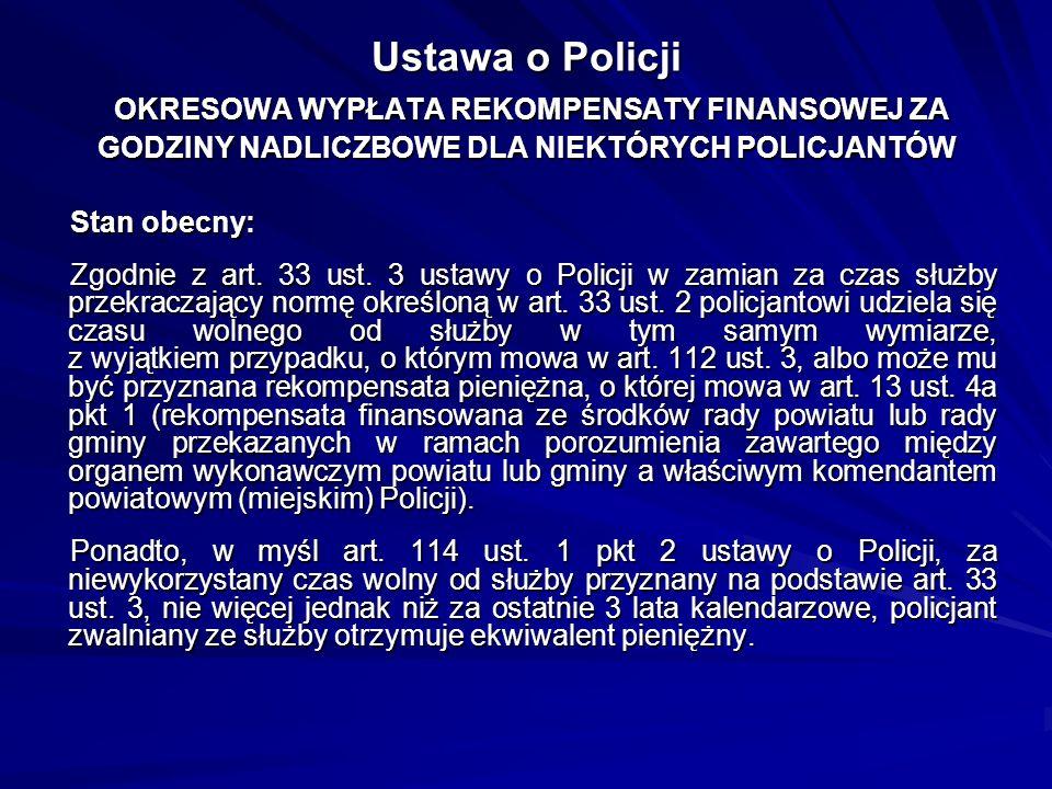 Ustawa o Policji OKRESOWA WYPŁATA REKOMPENSATY FINANSOWEJ ZA GODZINY NADLICZBOWE DLA NIEKTÓRYCH POLICJANTÓW Stan obecny: Zgodnie z art. 33 ust. 3 usta