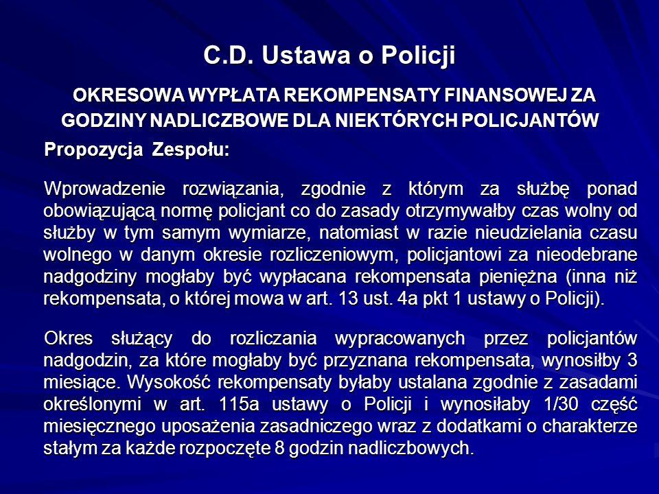 C.D. Ustawa o Policji OKRESOWA WYPŁATA REKOMPENSATY FINANSOWEJ ZA GODZINY NADLICZBOWE DLA NIEKTÓRYCH POLICJANTÓW Propozycja Zespołu: Wprowadzenie rozw