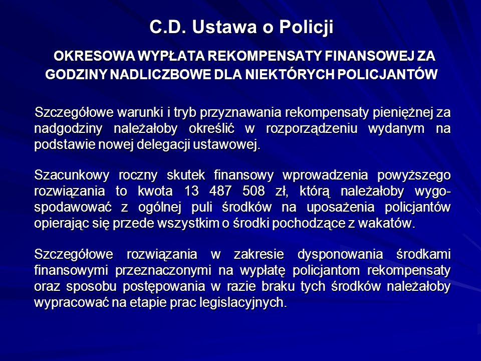 C.D. Ustawa o Policji OKRESOWA WYPŁATA REKOMPENSATY FINANSOWEJ ZA GODZINY NADLICZBOWE DLA NIEKTÓRYCH POLICJANTÓW Szczegółowe warunki i tryb przyznawan