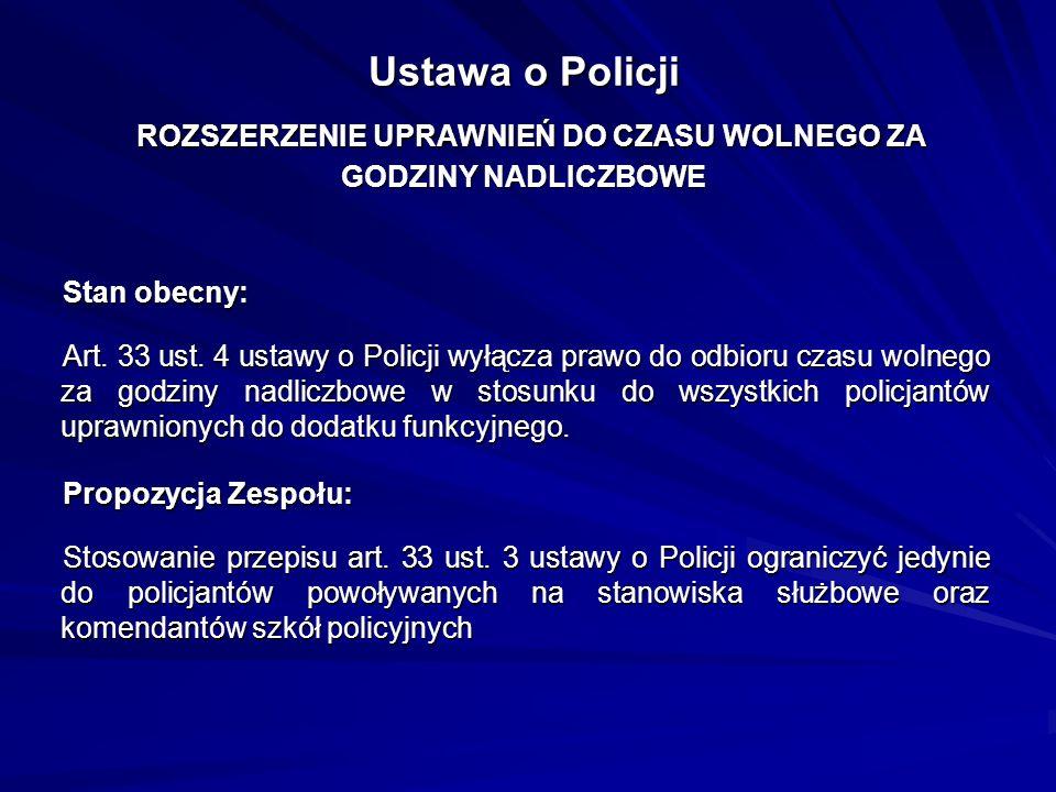 Ustawa o Policji ROZSZERZENIE UPRAWNIEŃ DO CZASU WOLNEGO ZA GODZINY NADLICZBOWE Stan obecny: Art. 33 ust. 4 ustawy o Policji wyłącza prawo do odbioru