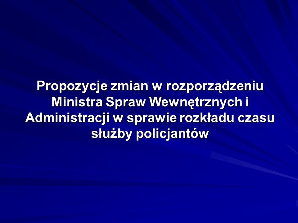 Propozycje zmian w rozporządzeniu Ministra Spraw Wewnętrznych i Administracji w sprawie rozkładu czasu służby policjantów