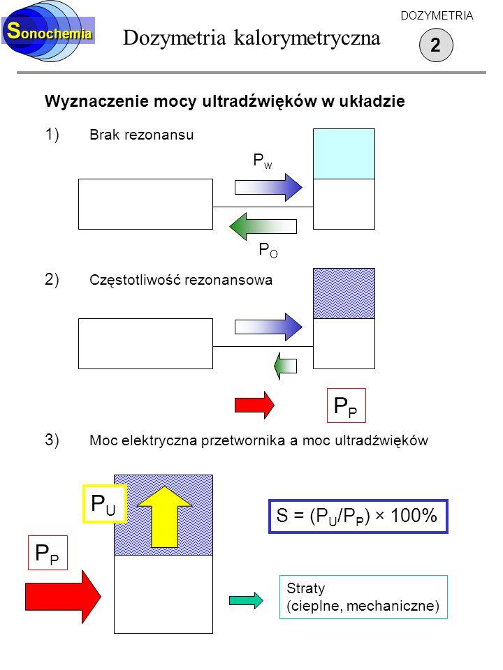 Dozymetria kalorymetryczna S onochemia 2 DOZYMETRIA Wyznaczenie mocy ultradźwięków w układzie 1) Brak rezonansu 2) Częstotliwość rezonansowa 3) Moc el
