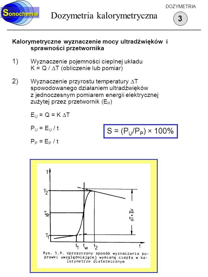 Dozymetria kalorymetryczna S onochemia 3 DOZYMETRIA Kalorymetryczne wyznaczenie mocy ultradźwięków i sprawności przetwornika 1) Wyznaczenie pojemności