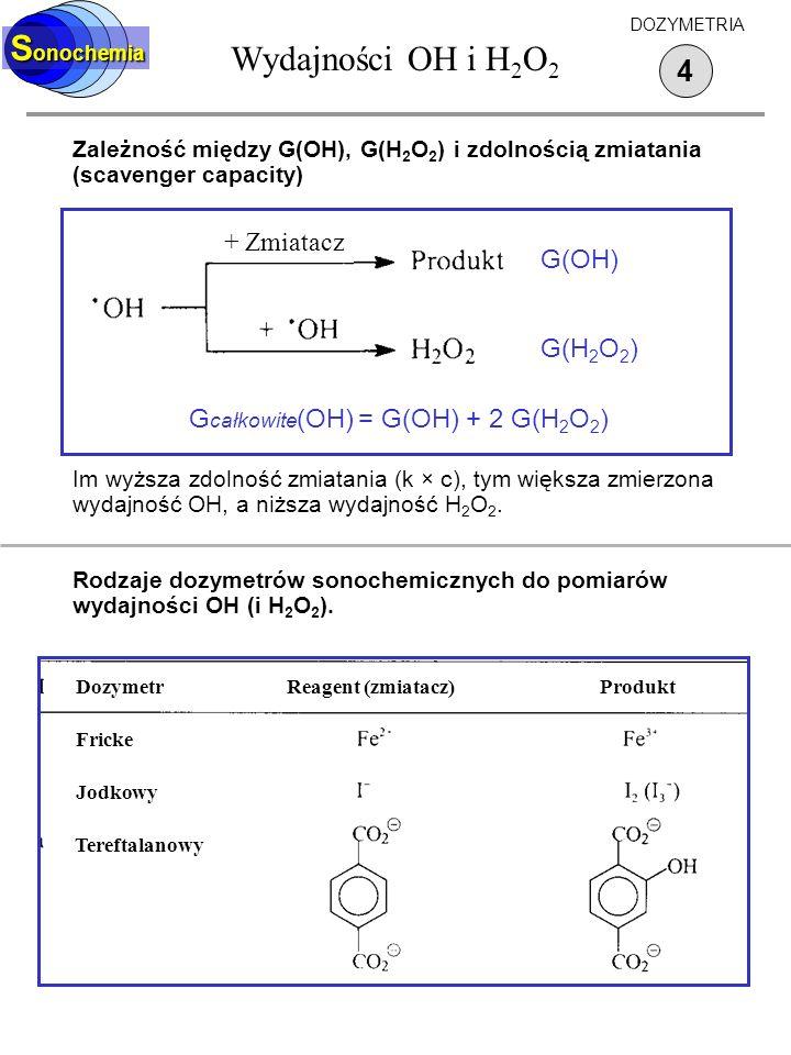 Wydajności OH i H 2 O 2 S onochemia 4 DOZYMETRIA Zależność między G(OH), G(H 2 O 2 ) i zdolnością zmiatania (scavenger capacity) Im wyższa zdolność zm
