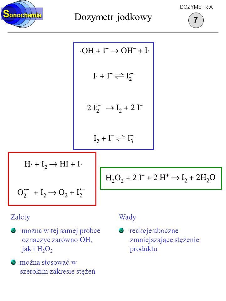 S onochemia Dozymetr jodkowy 7 DOZYMETRIA Zalety można w tej samej próbce oznaczyć zarówno OH, jak i H 2 O 2 można stosować w szerokim zakresie stężeń