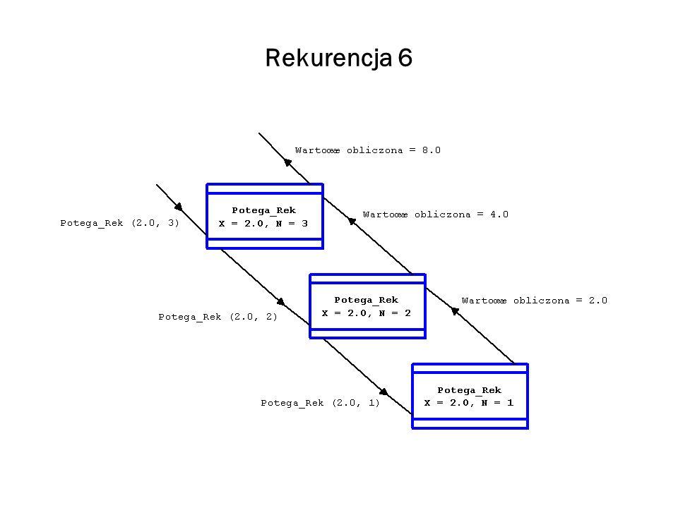Rekurencja 7 Definicja Wariantem podstawowym, albo bazowym (base case) algorytmu nazywamy wariant, którego rozwiązanie może być wyznaczone bez rekurencji.