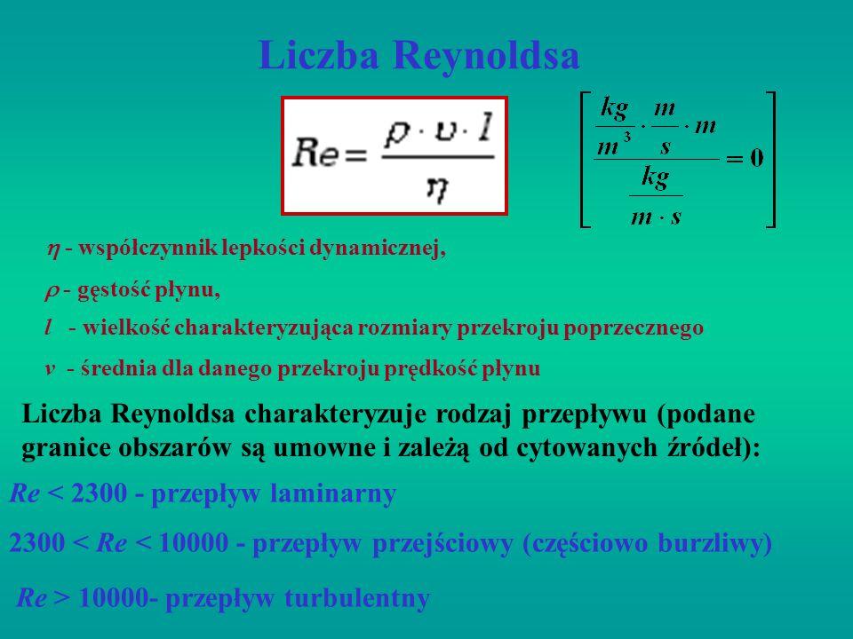 Liczba Reynoldsa l - wielkość charakteryzująca rozmiary przekroju poprzecznego - współczynnik lepkości dynamicznej, - gęstość płynu, Re < 2300 - przep