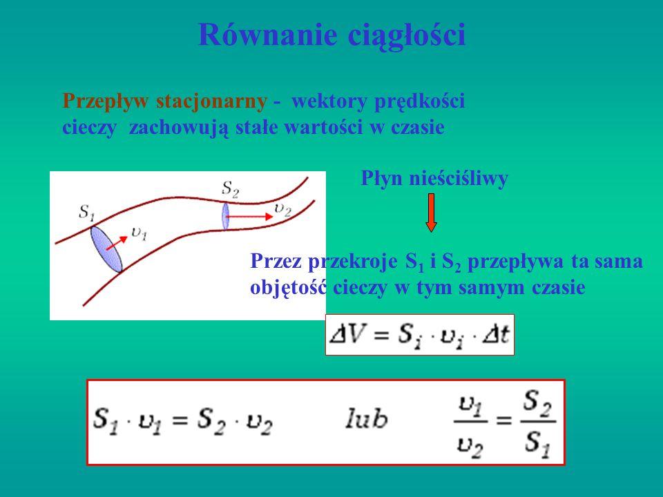 Równanie ciągłości Przepływ stacjonarny - wektory prędkości cieczy zachowują stałe wartości w czasie Płyn nieściśliwy Przez przekroje S 1 i S 2 przepł