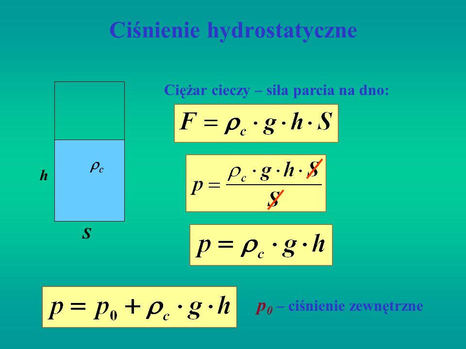 Statyka płynów Prawo Pascala: Ciśnienie wywierane na ciecz przenosi się jednakowo we wszystkich kierunkach i w całej objętości cieczy ma jednakową wartość.