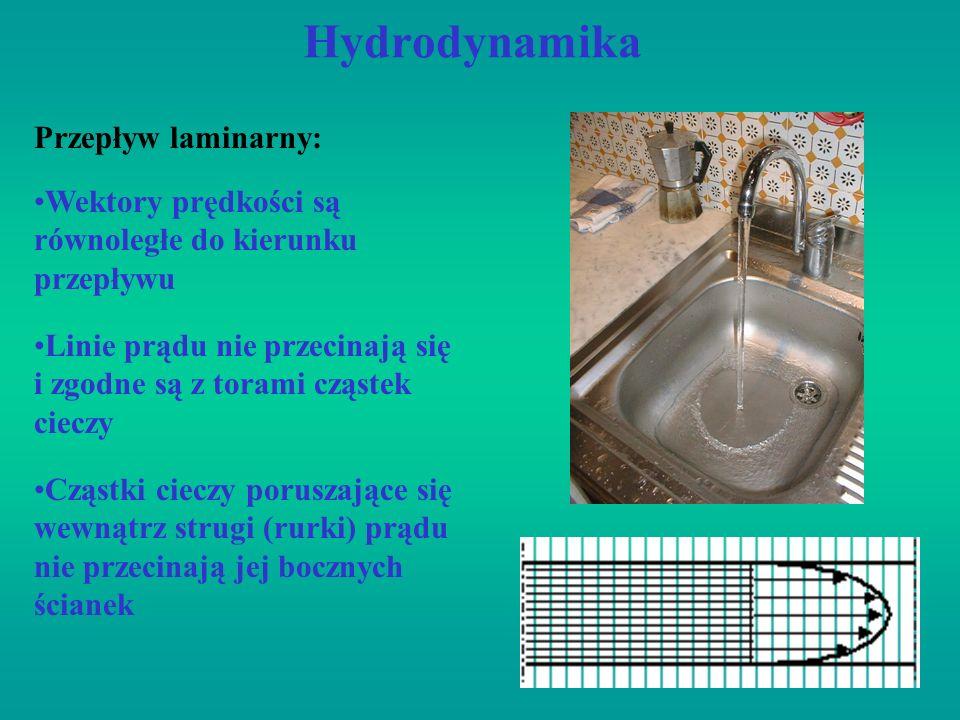 Hydrodynamika Wektory prędkości są równoległe do kierunku przepływu Przepływ laminarny: Linie prądu nie przecinają się i zgodne są z torami cząstek ci