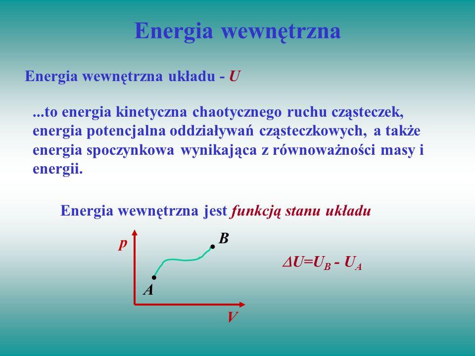 Energia wewnętrzna...to energia kinetyczna chaotycznego ruchu cząsteczek, energia potencjalna oddziaływań cząsteczkowych, a także energia spoczynkowa
