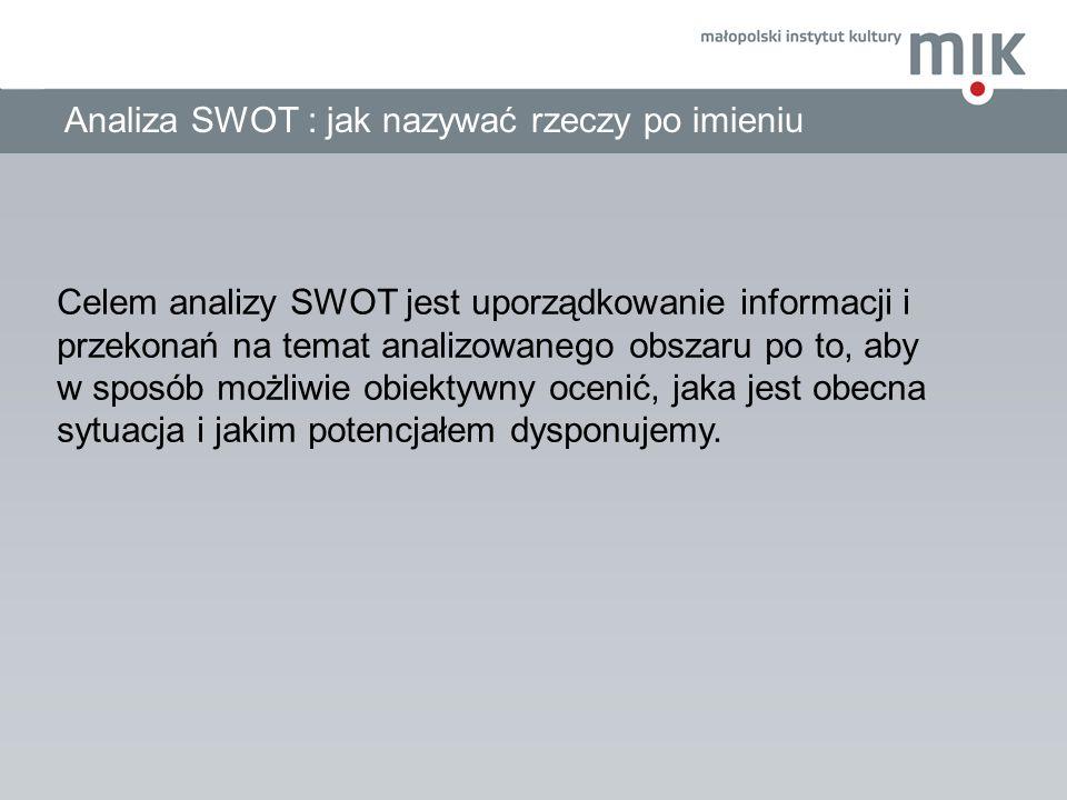 Analiza SWOT : jak nazywać rzeczy po imieniu Celem analizy SWOT jest uporządkowanie informacji i przekonań na temat analizowanego obszaru po to, aby w
