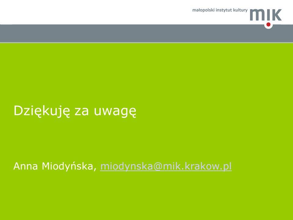 Dziękuję za uwagę Anna Miodyńska, miodynska@mik.krakow.plmiodynska@mik.krakow.pl