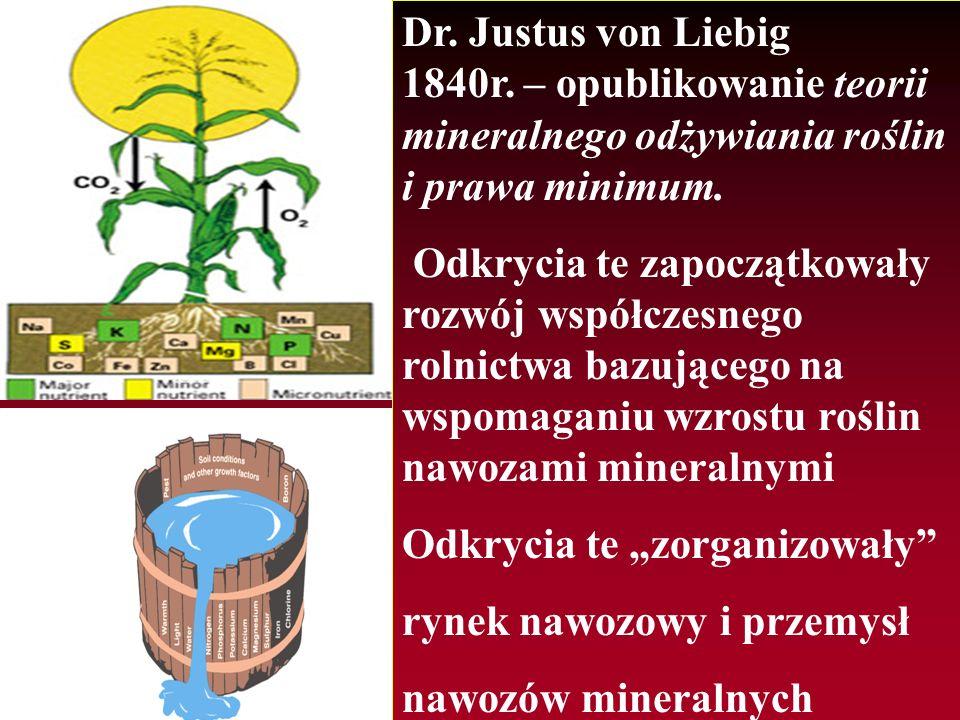 Dr. Justus von Liebig 1840r. – opublikowanie teorii mineralnego odżywiania roślin i prawa minimum. Odkrycia te zapoczątkowały rozwój współczesnego rol