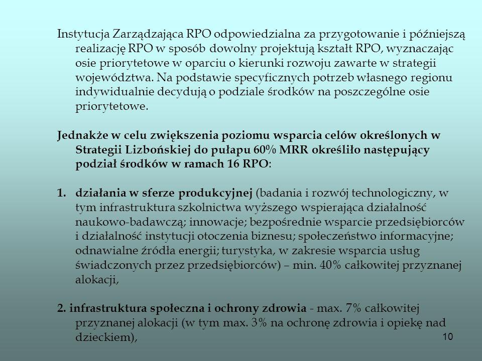 10 Instytucja Zarządzająca RPO odpowiedzialna za przygotowanie i późniejszą realizację RPO w sposób dowolny projektują kształt RPO, wyznaczając osie p