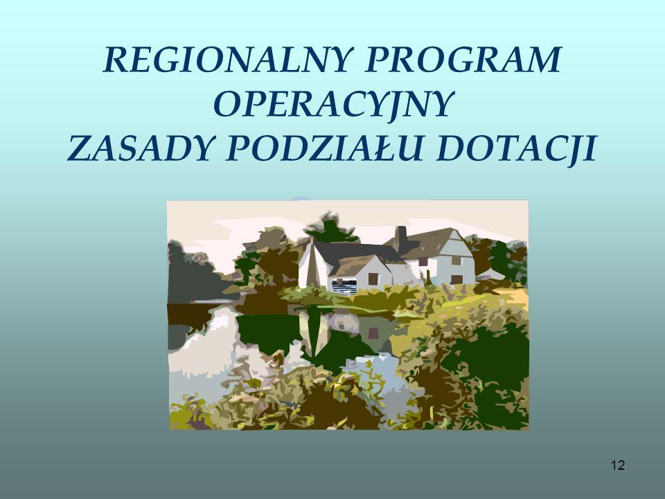 12 REGIONALNY PROGRAM OPERACYJNY ZASADY PODZIAŁU DOTACJI