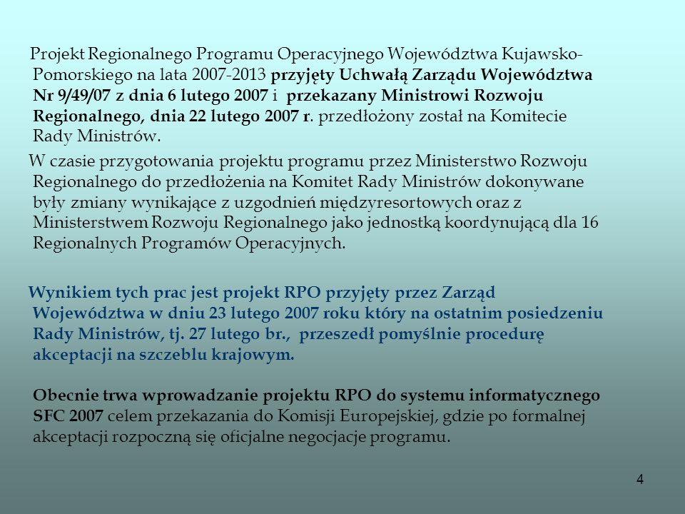 4 Projekt Regionalnego Programu Operacyjnego Województwa Kujawsko- Pomorskiego na lata 2007-2013 przyjęty Uchwałą Zarządu Województwa Nr 9/49/07 z dni