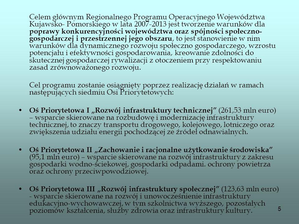 5 Celem głównym Regionalnego Programu Operacyjnego Województwa Kujawsko- Pomorskiego w lata 2007-2013 jest tworzenie warunków dla poprawy konkurencyjn