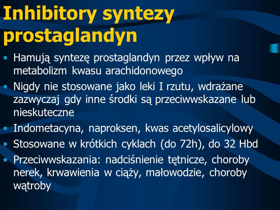 Inhibitory syntezy prostaglandyn Hamują syntezę prostaglandyn przez wpływ na metabolizm kwasu arachidonowego Nigdy nie stosowane jako leki I rzutu, wd