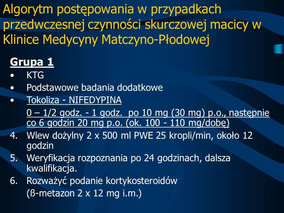 Algorytm postępowania w przypadkach przedwczesnej czynności skurczowej macicy w Klinice Medycyny Matczyno-Płodowej Grupa 1 KTG Podstawowe badania doda
