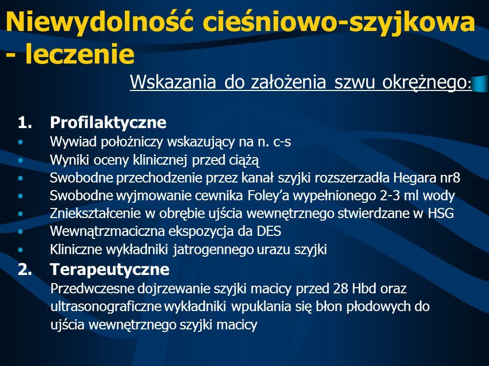 Niewydolność cieśniowo-szyjkowa - leczenie Wskazania do założenia szwu okrężnego : 1.Profilaktyczne Wywiad położniczy wskazujący na n. c-s Wyniki ocen