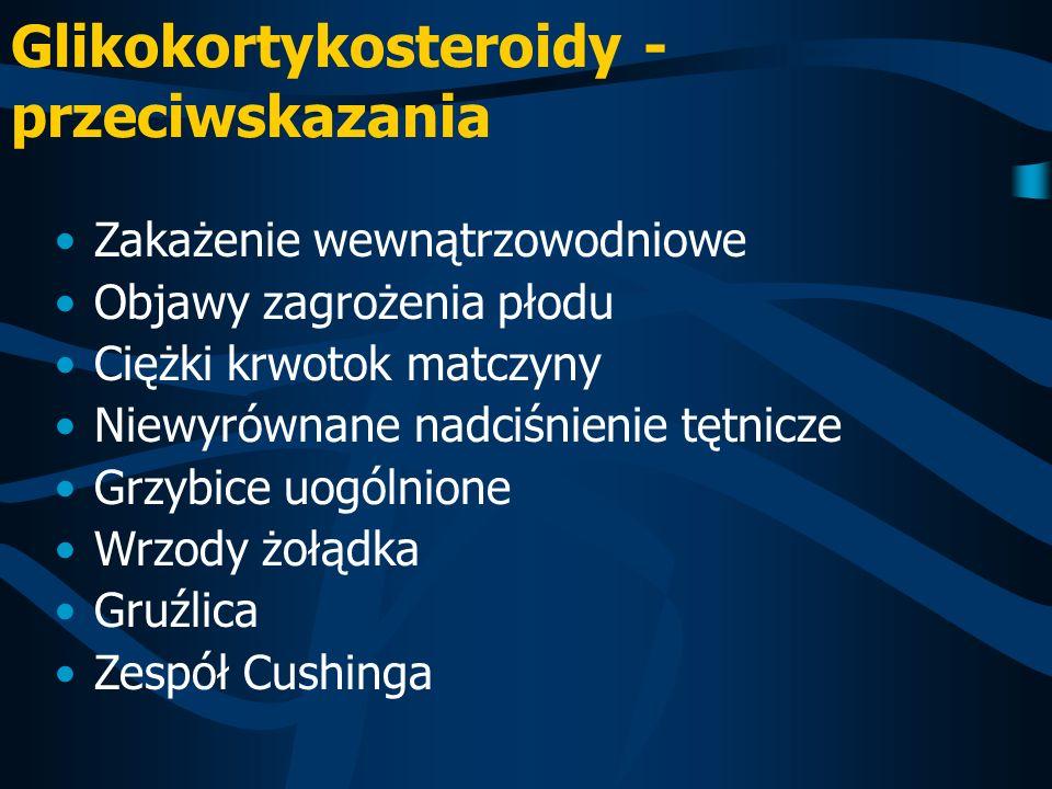 Glikokortykosteroidy - przeciwskazania Zakażenie wewnątrzowodniowe Objawy zagrożenia płodu Ciężki krwotok matczyny Niewyrównane nadciśnienie tętnicze