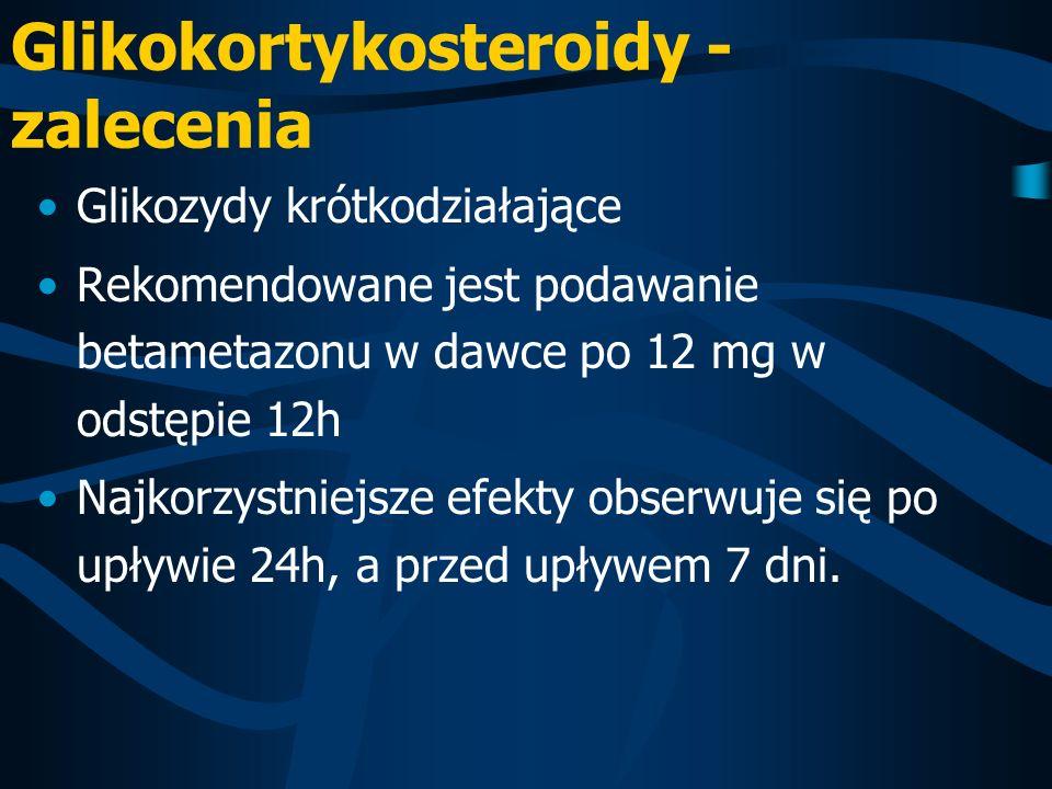 Glikokortykosteroidy - zalecenia Glikozydy krótkodziałające Rekomendowane jest podawanie betametazonu w dawce po 12 mg w odstępie 12h Najkorzystniejsz