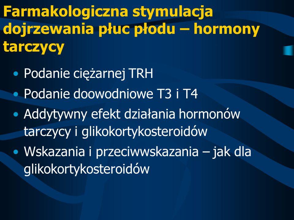 Farmakologiczna stymulacja dojrzewania płuc płodu – hormony tarczycy Podanie ciężarnej TRH Podanie doowodniowe T3 i T4 Addytywny efekt działania hormo