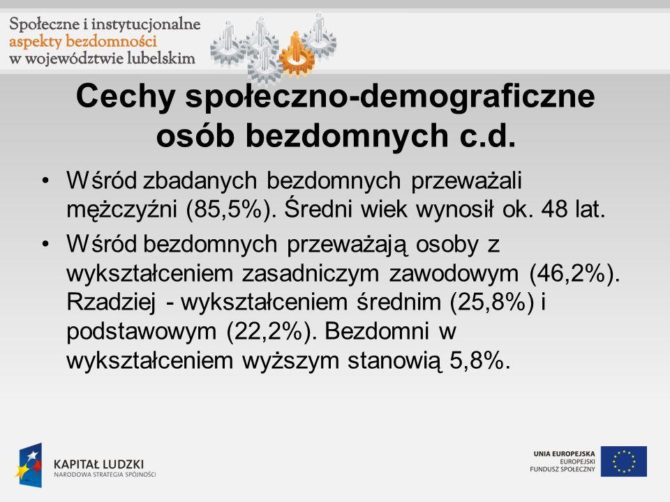 Cechy społeczno-demograficzne bezdomnych c.d.