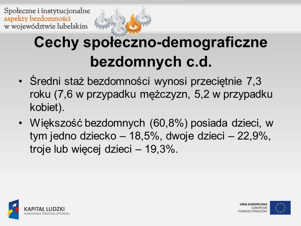 Cechy społeczno-demograficzne bezdomnych c.d. Średni staż bezdomności wynosi przeciętnie 7,3 roku (7,6 w przypadku mężczyzn, 5,2 w przypadku kobiet).