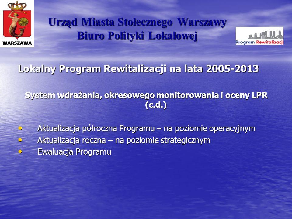 Urząd Miasta Stołecznego Warszawy Biuro Polityki Lokalowej Lokalny Program Rewitalizacji na lata 2005-2013 System wdrażania, okresowego monitorowania