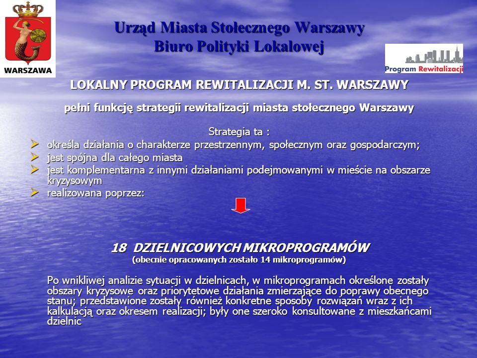 Urząd Miasta Stołecznego Warszawy Biuro Polityki Lokalowej LOKALNY PROGRAM REWITALIZACJI M. ST. WARSZAWY pełni funkcję strategii rewitalizacji miasta