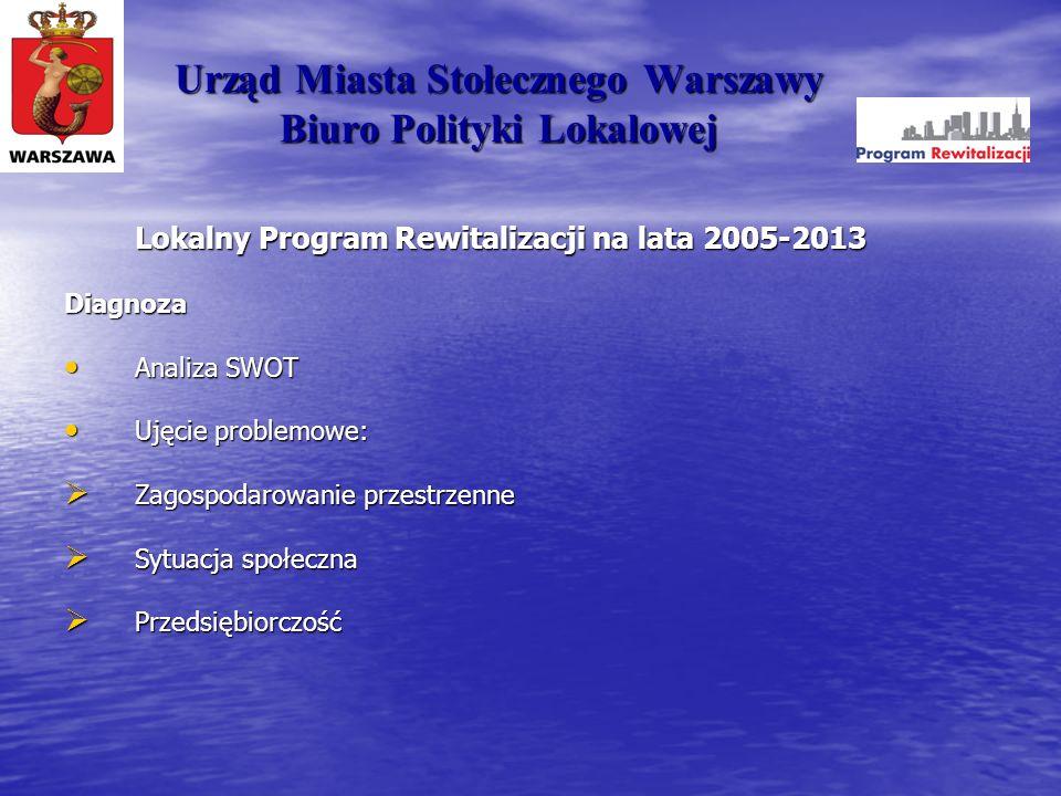 Urząd Miasta Stołecznego Warszawy Biuro Polityki Lokalowej Lokalny Program Rewitalizacji na lata 2005-2013 Diagnoza Analiza SWOT Analiza SWOT Ujęcie p