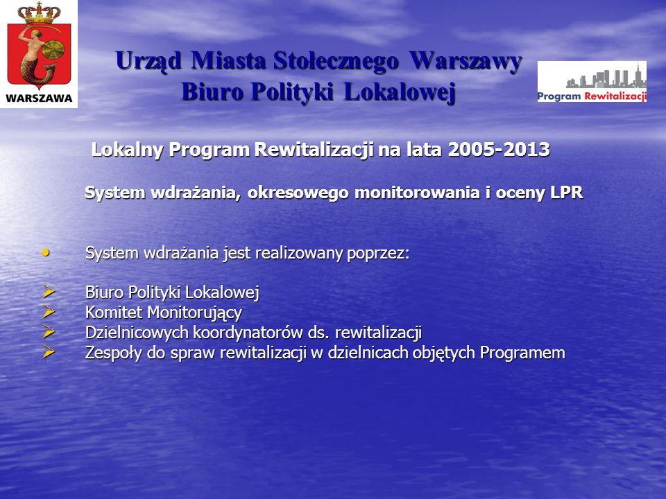 Urząd Miasta Stołecznego Warszawy Biuro Polityki Lokalowej Lokalny Program Rewitalizacji na lata 2005-2013 System wdrażania, okresowego monitorowania i oceny LPR (c.d.) Aktualizacja półroczna Programu – na poziomie operacyjnym Aktualizacja półroczna Programu – na poziomie operacyjnym Aktualizacja roczna – na poziomie strategicznym Aktualizacja roczna – na poziomie strategicznym Ewaluacja Programu Ewaluacja Programu