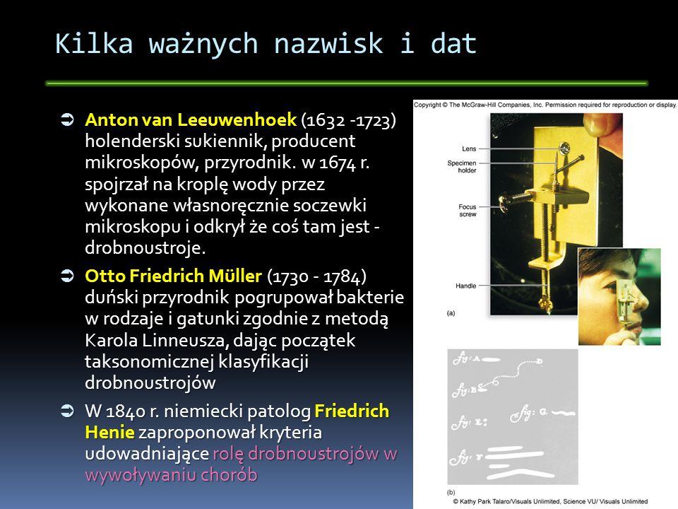 Kilka ważnych nazwisk i dat W latach 1870 - 1880 Robert Koch (postulaty Kocha) i Ludwik Pasteur (teoria zarazków) potwierdzili tę teorię udowadniając, że drobnoustroje powodują wąglik, wściekliznę, dżumę, cholerę i gruźlicę.