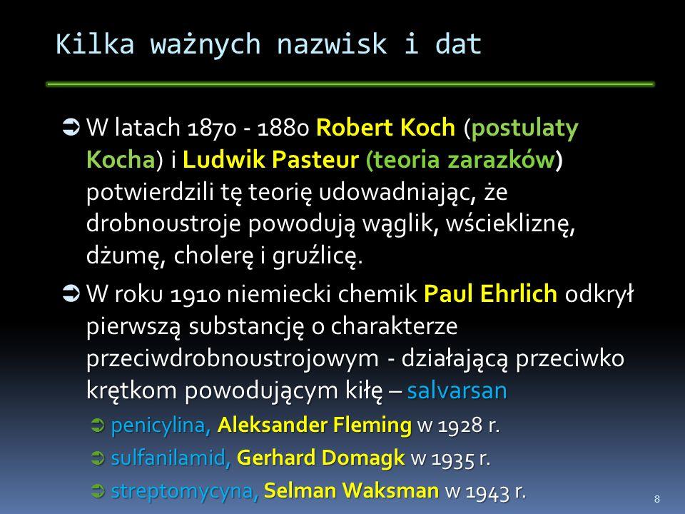Kilka ważnych nazwisk i dat W latach 1870 - 1880 Robert Koch (postulaty Kocha) i Ludwik Pasteur (teoria zarazków) potwierdzili tę teorię udowadniając,
