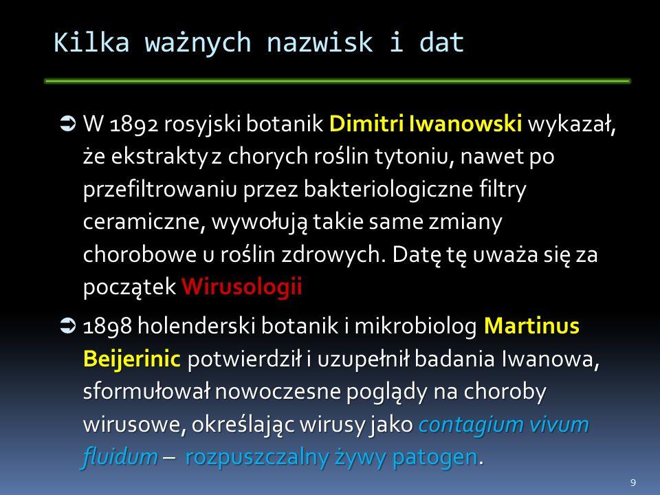 Kilka ważnych nazwisk i dat W 1892 rosyjski botanik Dimitri Iwanowski wykazał, że ekstrakty z chorych roślin tytoniu, nawet po przefiltrowaniu przez b